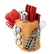 Ragalta™ PureLife™ 3.83 cu. ft. 31-Piece Carousel Knife & Kitchen Tool Set, Red (PLCKS-200)