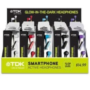 TDK Life on Record 62228 SP80 Stereo Glow-In-The-Dark In-Ear Earphones with Mic, Assorted
