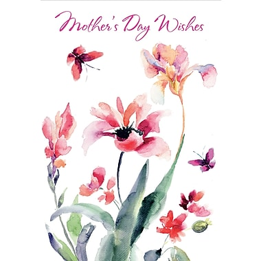 Millbrook Mother's Day Wishes Greeting Card, Water Colour, 18/Pack, (23564)