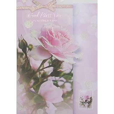 Rosedale God Bless You on Mother's Day Greeting Card, Pink Rose, 12/Pack, (39937)