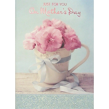 Rosedale Just for You on Mother's Day Greeting Card, Flowers in Cup, 12/Pack, (39959)