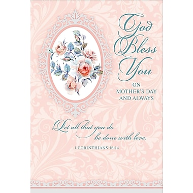 Rosedale God Bless You on Mother's Day Greeting Card, Frame, 12/Pack, (39973)