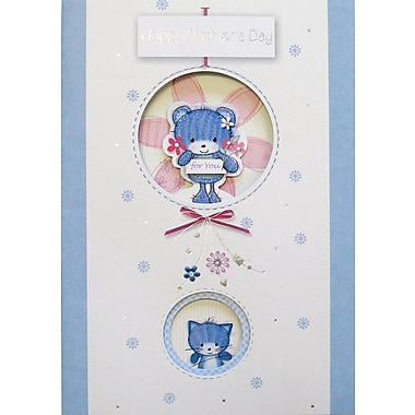 Rosedale Happy Mother's Day Greeting Card, Blue Bear, 12/Pack, (39978)
