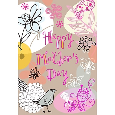 Rosedale Happy Mother's Day Greeting Card, Grey Bird, 12/Pack, (40010)