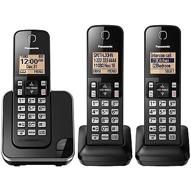 Panasonic KXTGC383B 3-Handset Cordless Phone, Black