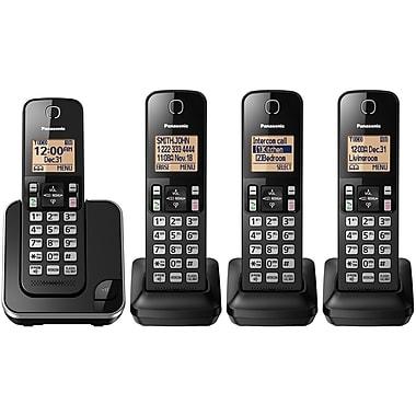 Panasonic – Téléphone sans fil KXTGC384B, 4 combinés, noir