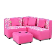 kangaroo trading company Kids Sectional and Ottoman w/ Cup Holder