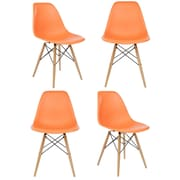 eModern Decor Slope Shell Side Chair (Set of 4); Orange