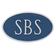 Montague Metal Products Standard Lexington Arch 2 Line Address Plaque; Sea Blue/Silver
