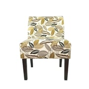MJLFurniture Samantha Button Tufted Flora Foliage Parsons Chair; Driftwood