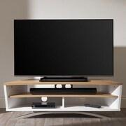 Techlink Prisma TV Stand; Satin White / Light Oak