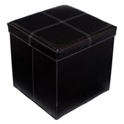 BirdRock Home Folding Storage Ottoman; Black