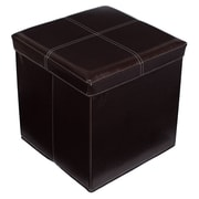 BirdRock Home Folding Storage Ottoman; Dark Brown