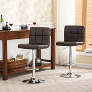 Roundhill Furniture Adjustable Height Swivel Bar Stool with Cushion (Set of 2); Brown