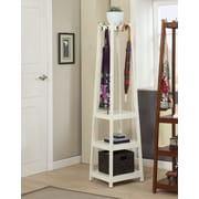 Roundhill Furniture Vassen 3-Tier Storage Shelve Coat Rack; White