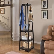 Roundhill Furniture Vassen 3-Tier Storage Shelve Coat Rack; Black