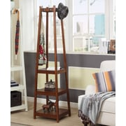 Roundhill Furniture Vassen 3-Tier Storage Shelve Coat Rack; Espresso