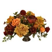 Floral Home Decor Silk Floral Centerpiece with Hydrangea, Rose, Peonies