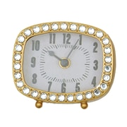 Creative Co-Op Rectangle Pewter Clock with Crystals