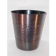 Fashion Home 3 Gal Rain Hammered with Beaded Accent 10'' Round Tonal Bronze Steel Wastebasket