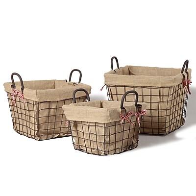 AdecoTrading 3 Piece Rectangular Rustic Style Multi Purpose Basket Set; Large WYF078277853842