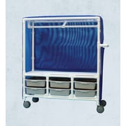 Care Products, Inc. 6-Bin Distribution Cart w/ Hanging Rod; 65'' H x 65'' W x 20'' D