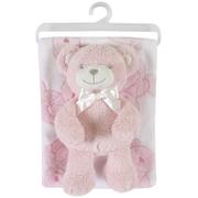 StephanBaby Fleece Blanket and Bear Plush Toy Set; Pink