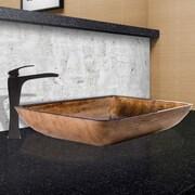 Vigo Rectangular Amber Sunset Glass Vessel Bathroom Sink and Blackstonian Vessel Faucet with Pop Up