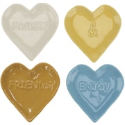 CKK Home D cor, LP Stonebriar 4 Piece Heart Shaped Embossed Sentiment Ceramic Plate Set