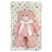 StephanBaby Multi Dot Fleece Blanket and Floppy Bear Plush Toy Set; Pink
