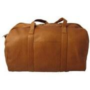 David King 18'' Leather Travel Duffel; Tan
