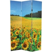 Oriental Furniture 71'' x 47.25'' Brids and Flowers Double Sided 3 Panel Room Divider