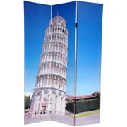 Oriental Furniture 72'' x 48'' Double Sided Pisa and St.Peter Feets 3 Panel Room Divider