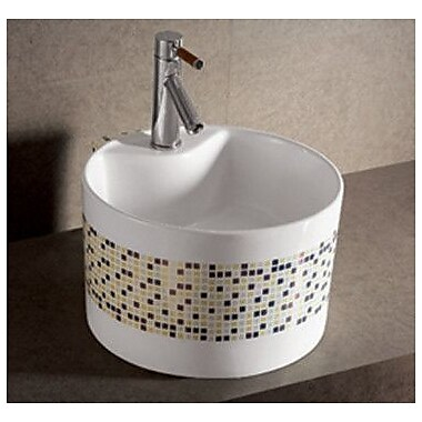 Whitehaus Collection Isabella Decorative Tile Round Bathroom Sink w/ Center Drain