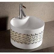 Whitehaus Collection Isabella Decorative Tile Round Bathroom Sink w/ Center Drain