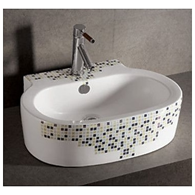 Whitehaus Collection Isabella Decorative Tile Oval Bathroom Sink w/ Center Drain