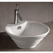 Whitehaus Collection Isabella Round Stepped Bathroom Sink with Overflow and Center Drain
