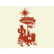 Style and Apply Welcome to Las Vegas Wall Clock Wall Decal; Dark Red