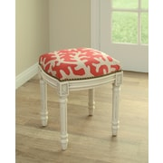 123 Creations Coastal Linen Upholstered Vanity Stool; Red