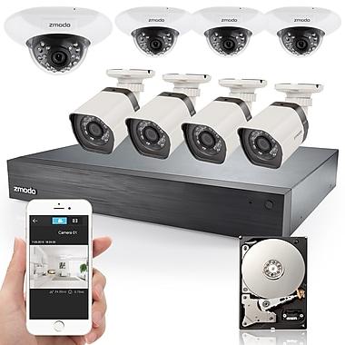Système de surveillance EVR Zmodo 16 canaux 720p sPoE avec 8 caméras IP HD et un disque dur de 1 To (ZMSS76D7B68SG1T)