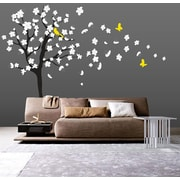 Wall Decal Source Tree, Cherry Blossom and Flowers Blowing in Wind Wall Decal; Scheme C