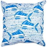 Island Girl Home Sailfish School BlueThrow Pillow