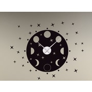 Style and Apply Phrases of the Moon Wall Clock Wall Decal; Black