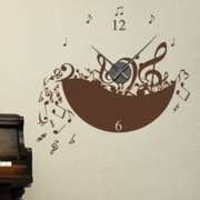 Style and Apply Music Wall Clock Wall Decal; Black