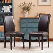 Roundhill Furniture Donatello Parsons Chair (Set of 2); Brown