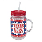 Occasionally Made Texas State of Mind 20 Oz. Acrylic Mason Jar Cup (Set of 2)