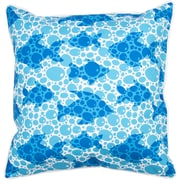 Island Girl Home Coastal Blue Fish Bubbles Throw Pillow