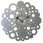 Mid Century Decor Bubbly 20'' Blossom Circular Clock; Silver