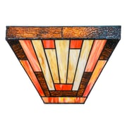 River of Goods Sunset Mission Style Stained Glass LED Wireless Wall Sconce