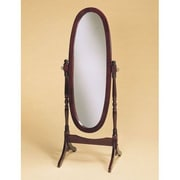 Roundhill Furniture Traditional Floor Cheval Mirror; Cherry